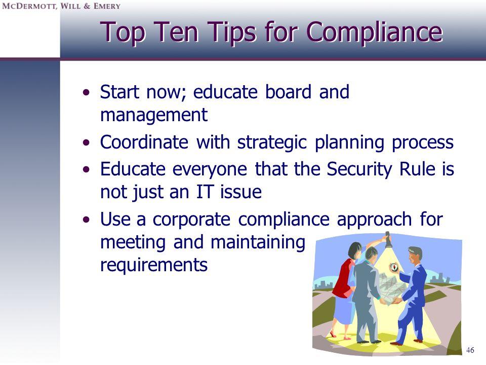Top Ten Tips for Compliance