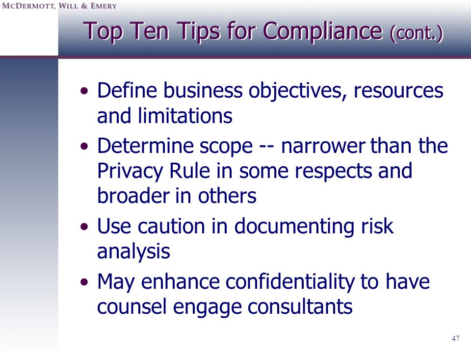 Top Ten Tips for Compliance (cont.)