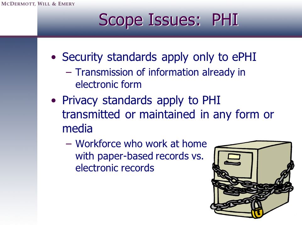 Scope Issues: PHI Security standards apply only to ePHI