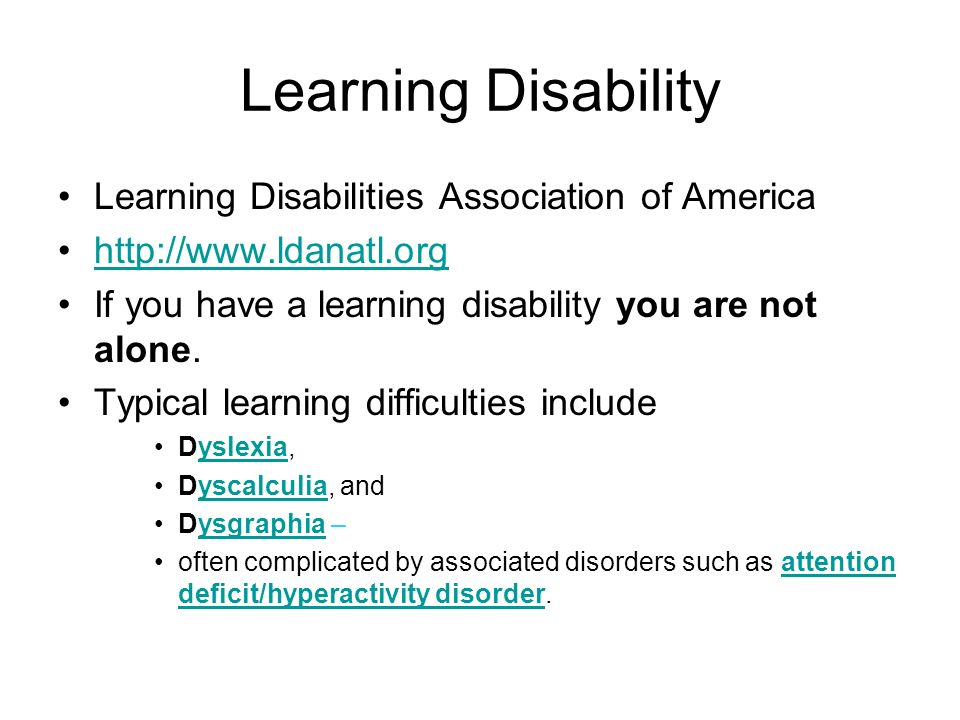 Learning Disability Learning Disabilities Association of America