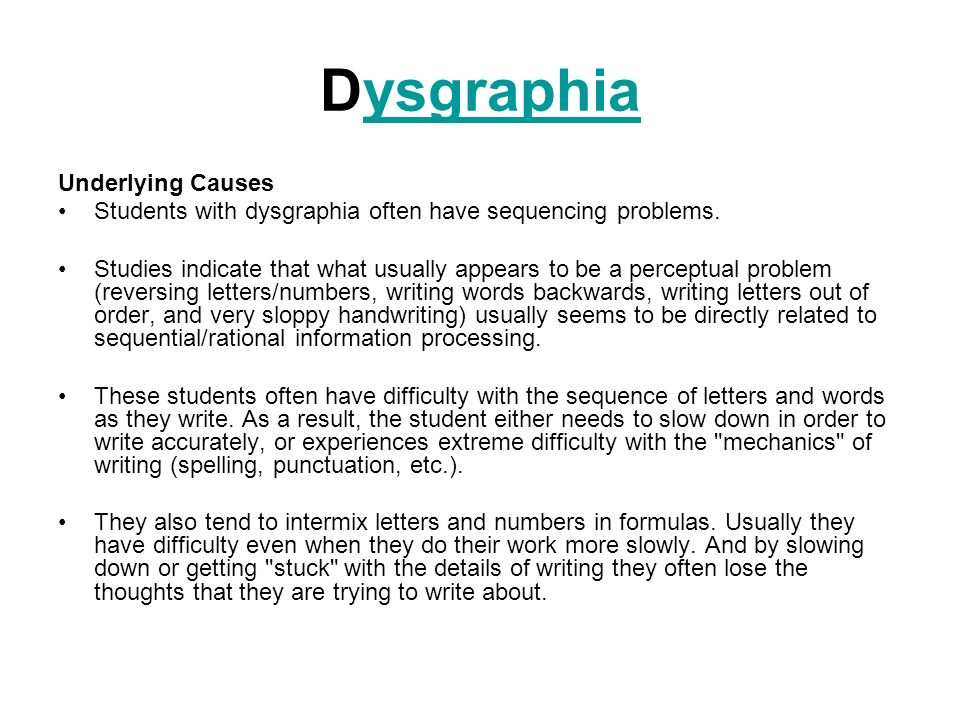 Dysgraphia Underlying Causes