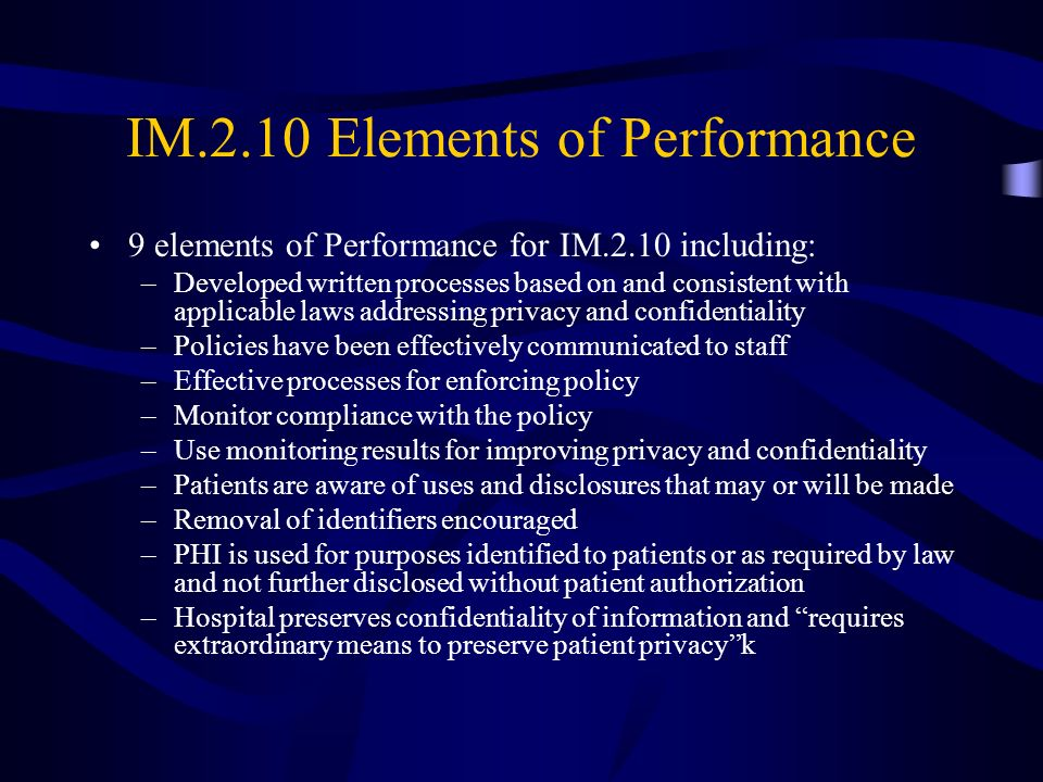 IM.2.10 Elements of Performance