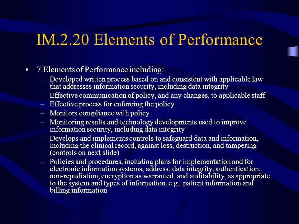 IM.2.20 Elements of Performance