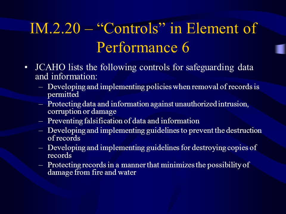 IM.2.20 – Controls in Element of Performance 6