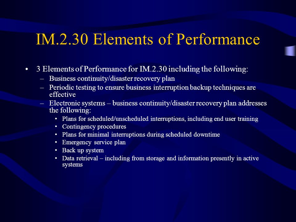 IM.2.30 Elements of Performance