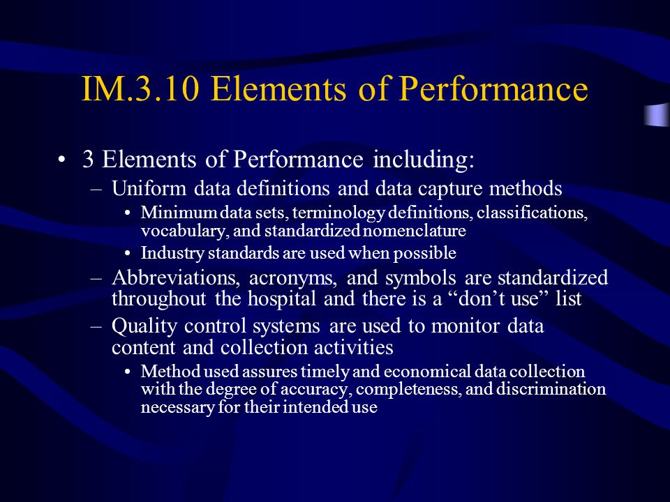 IM.3.10 Elements of Performance