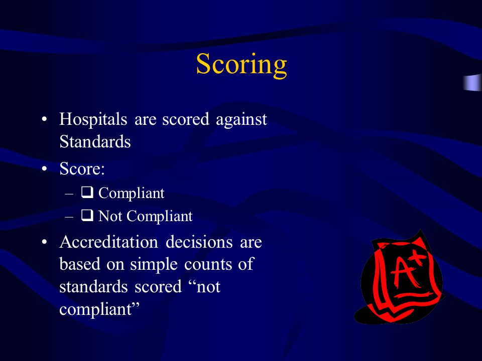 Scoring Hospitals are scored against Standards Score: