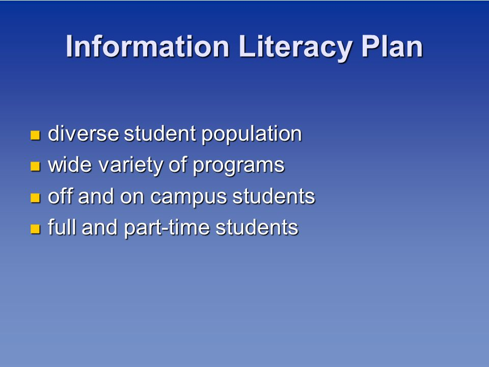 Information Literacy Plan