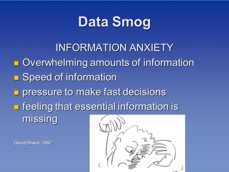 Data Smog INFORMATION ANXIETY Overwhelming amounts of information