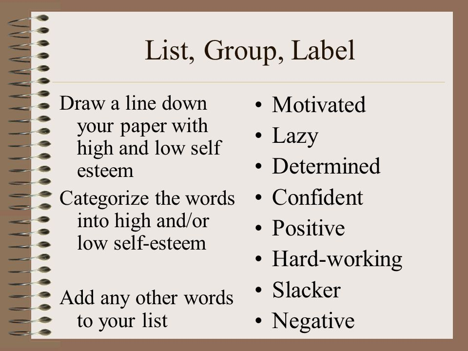 List, Group, Label Motivated Lazy Determined Confident Positive