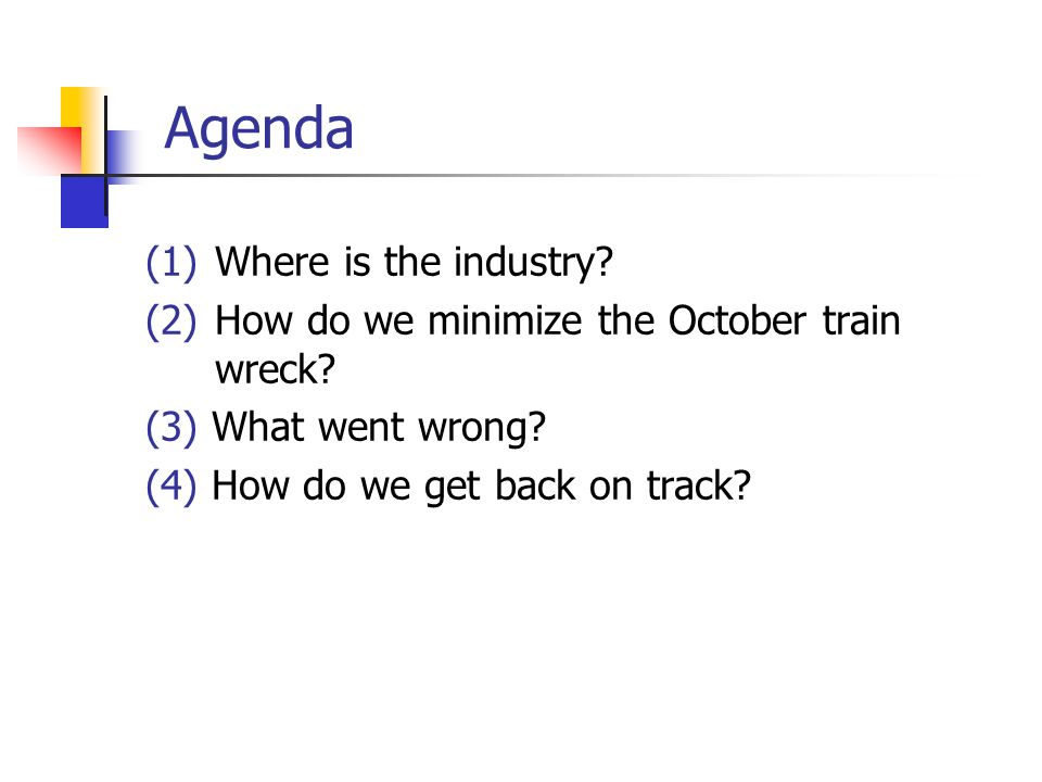 Agenda (1) Where is the industry