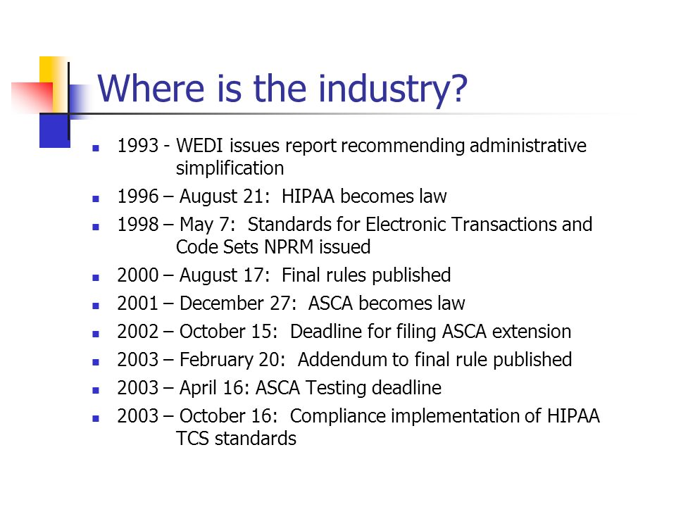 Where is the industry 1993 - WEDI issues report recommending administrative simplification. 1996 – August 21: HIPAA becomes law.