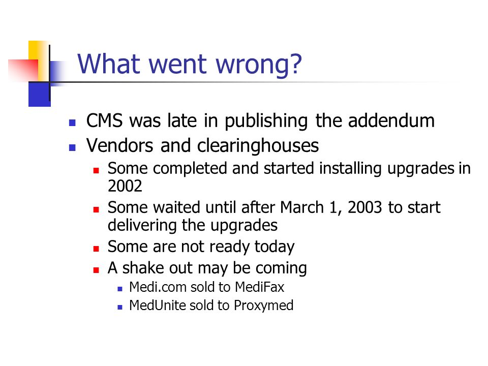 What went wrong CMS was late in publishing the addendum