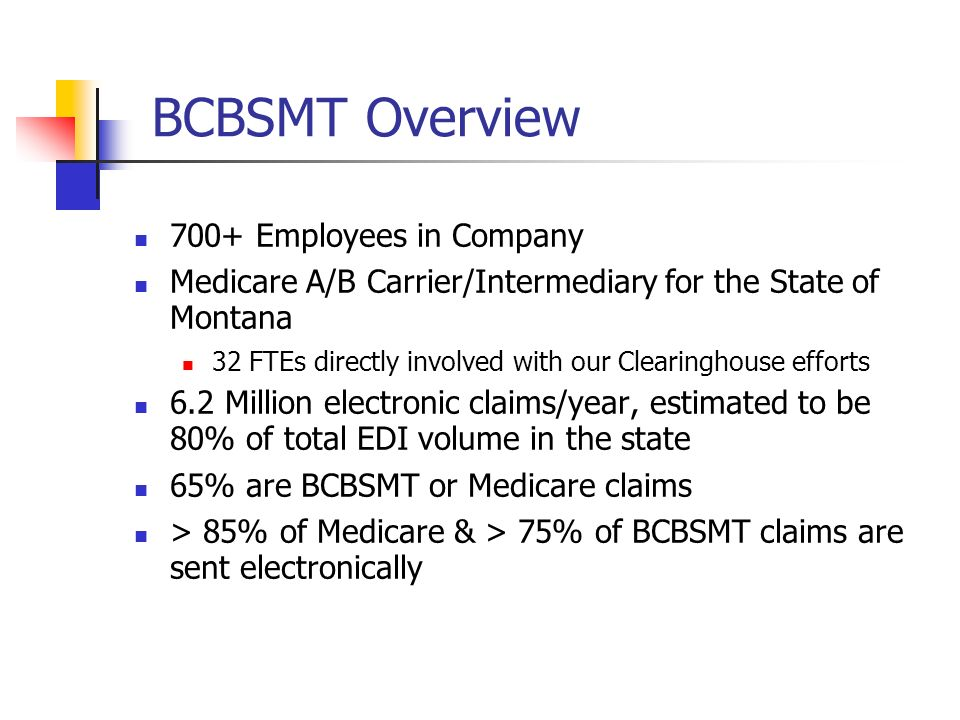 BCBSMT Overview 700+ Employees in Company