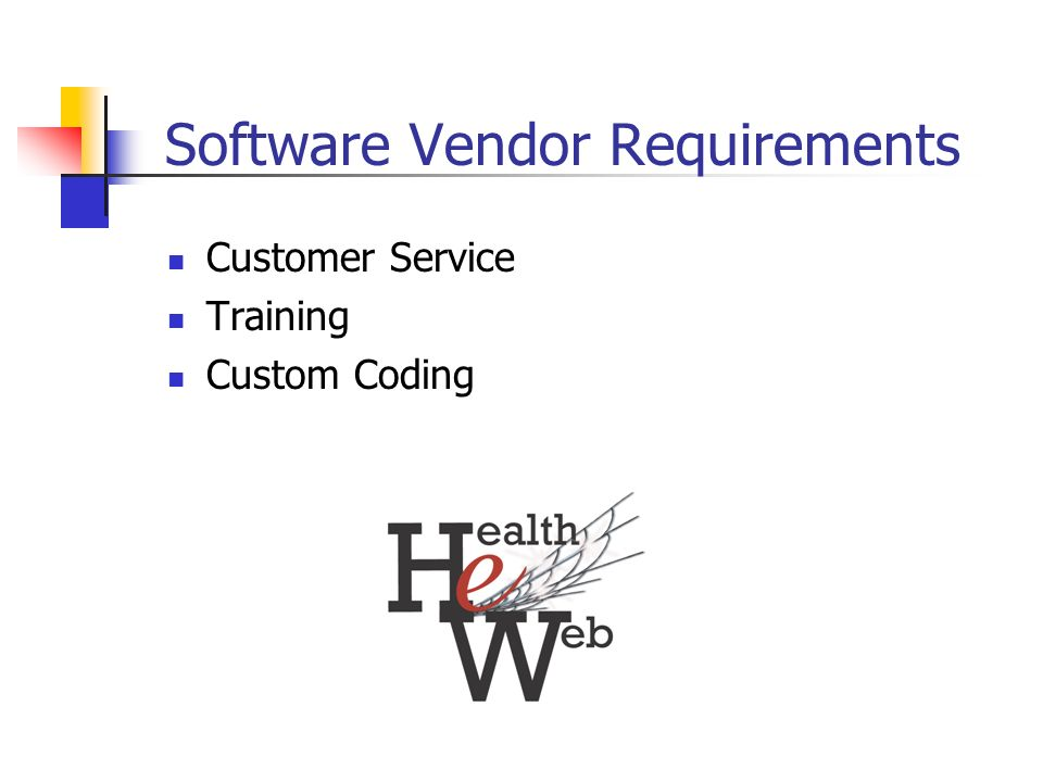 Software Vendor Requirements