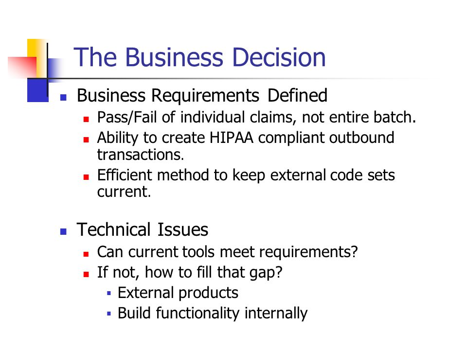 The Business Decision Business Requirements Defined Technical Issues