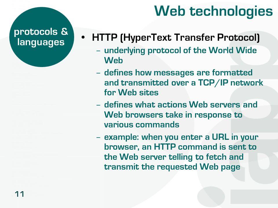 Web technologies protocols & HTTP (HyperText Transfer Protocol)