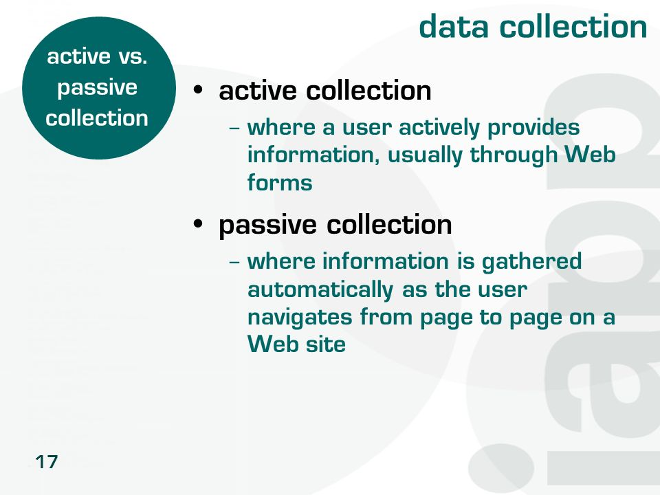 active vs. passive collection