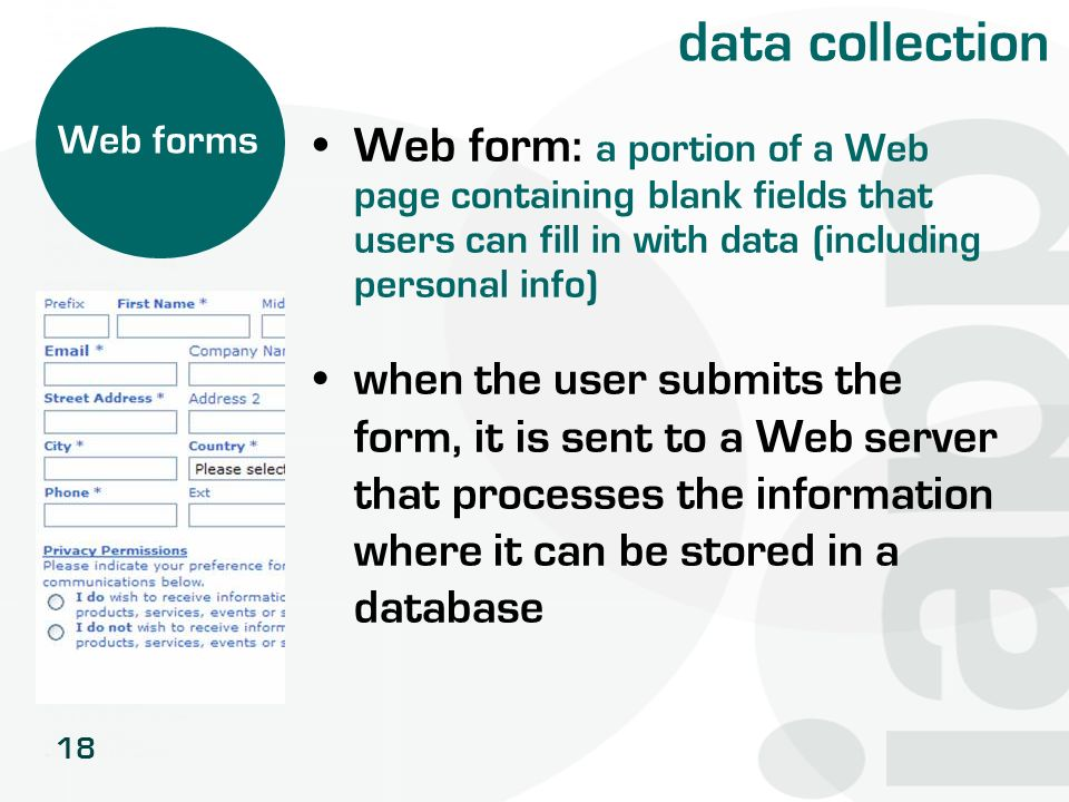 data collection Web forms. Web form: a portion of a Web page containing blank fields that users can fill in with data (including personal info)