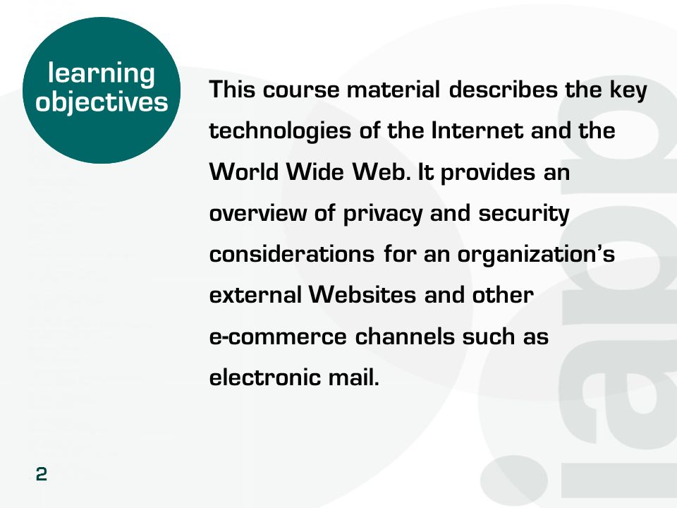 learning objectives This course material describes the key