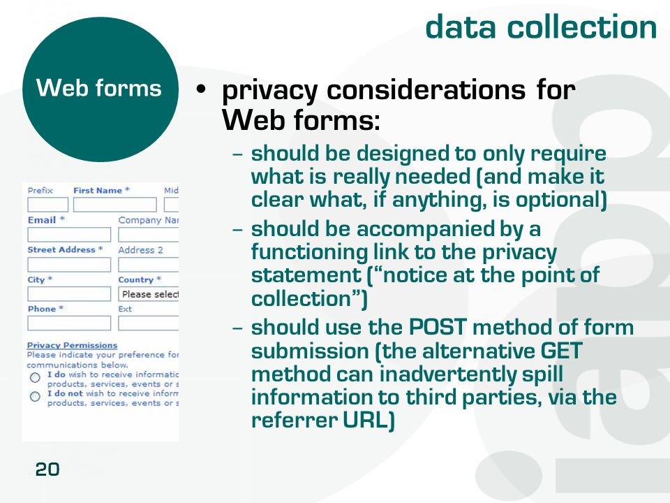 data collection privacy considerations for Web forms: Web forms