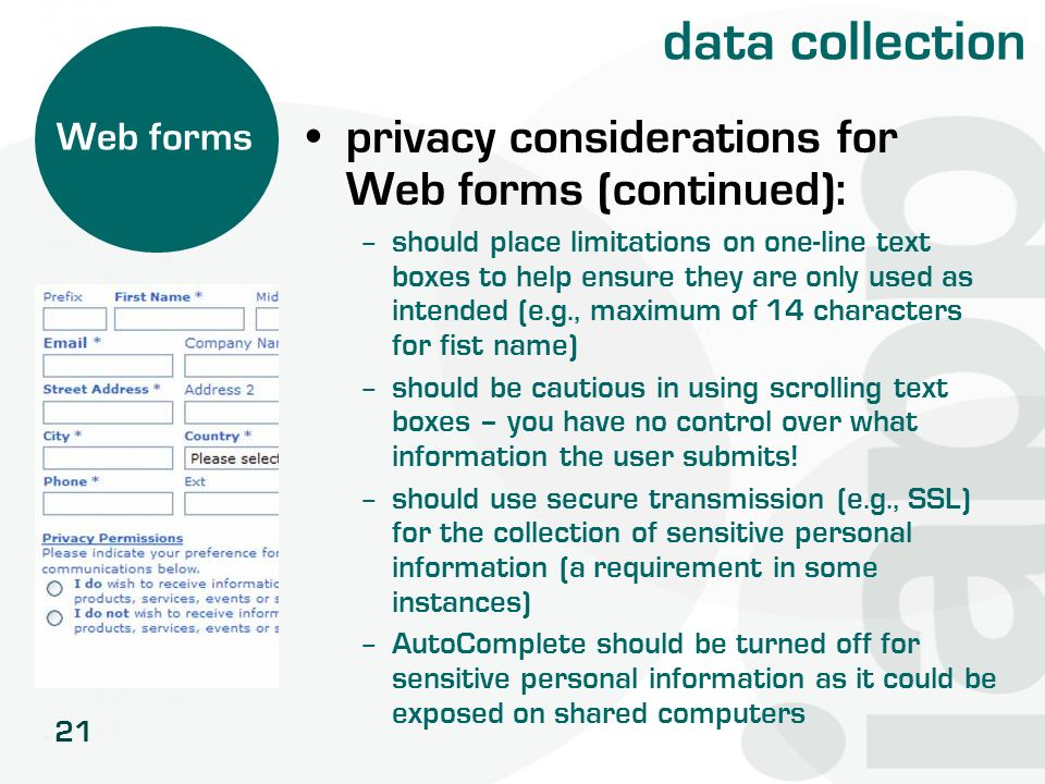 data collection privacy considerations for Web forms (continued):
