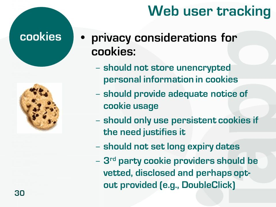 Web user tracking cookies privacy considerations for cookies: