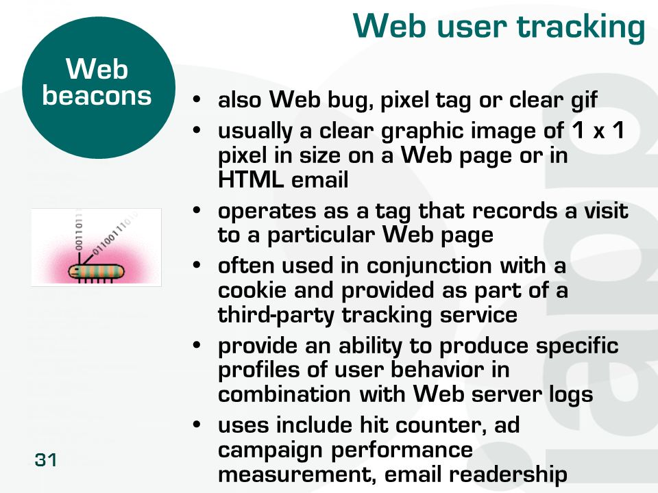 Web user tracking Web beacons also Web bug, pixel tag or clear gif