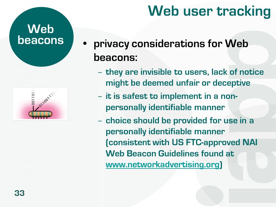 Web user tracking Web beacons privacy considerations for Web beacons: