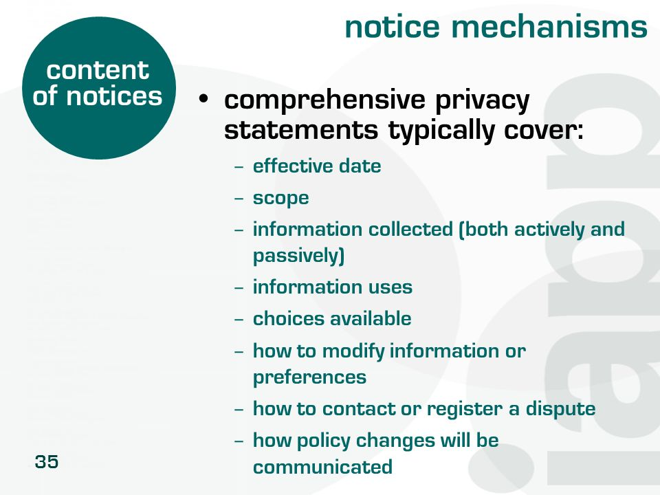 notice mechanisms content of notices