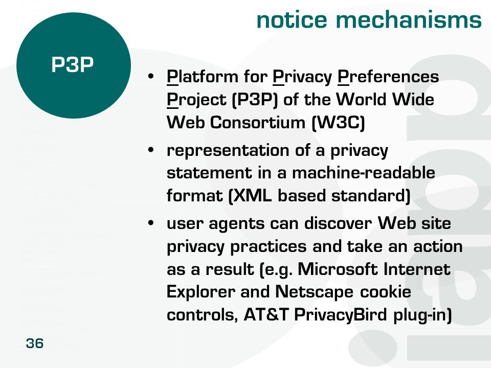 notice mechanisms P3P. Platform for Privacy Preferences Project (P3P) of the World Wide Web Consortium (W3C)