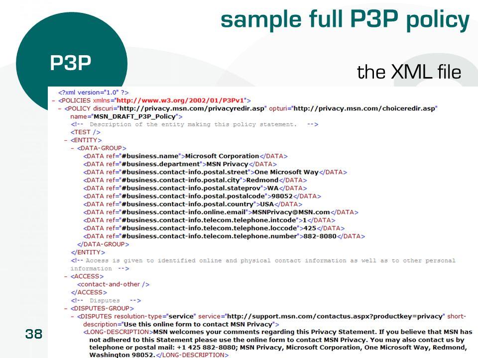 sample full P3P policy P3P the XML file
