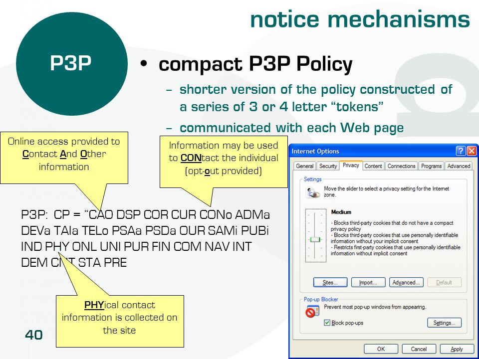notice mechanisms P3P compact P3P Policy