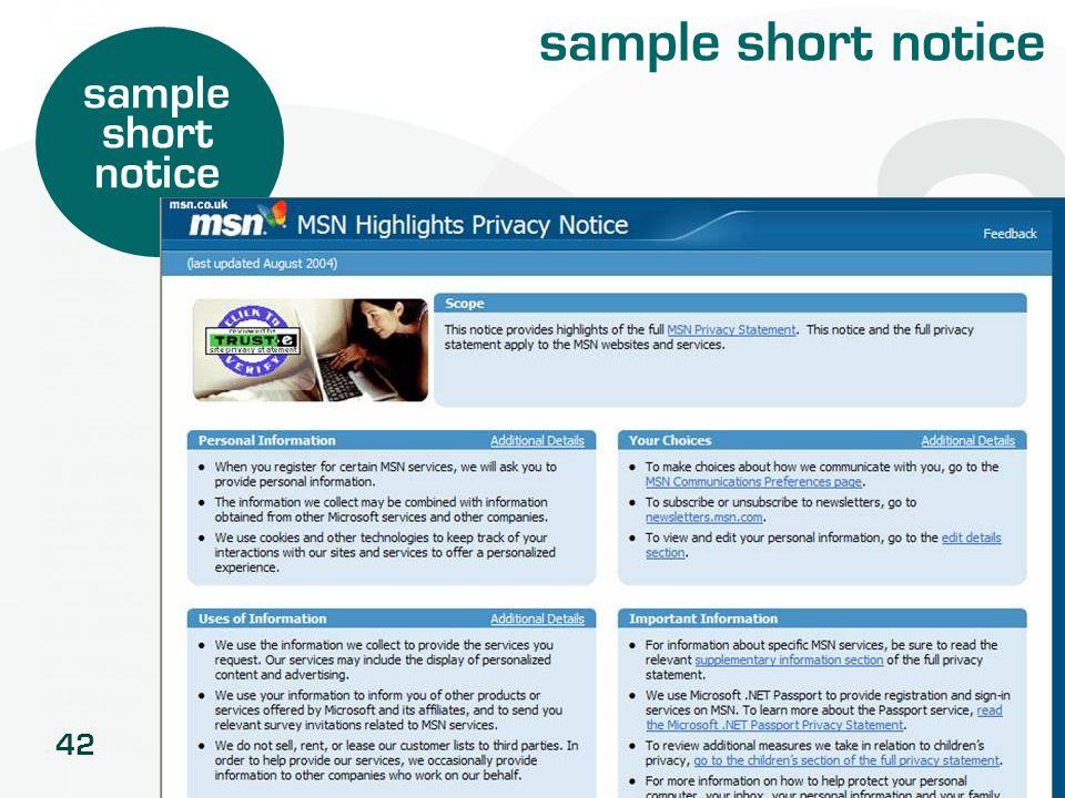 sample short notice sample short notice