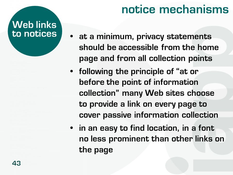 notice mechanisms Web links to notices