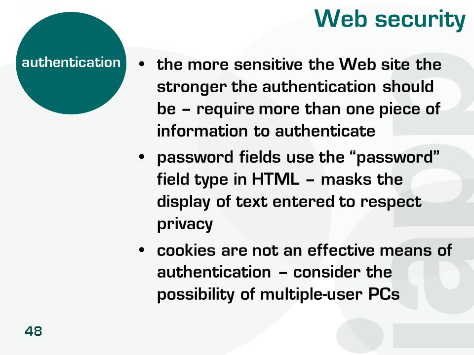 Web security authentication.
