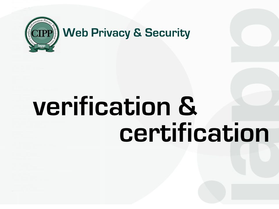 Web Privacy & Security verification & certification