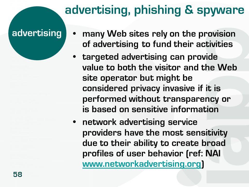 advertising, phishing & spyware