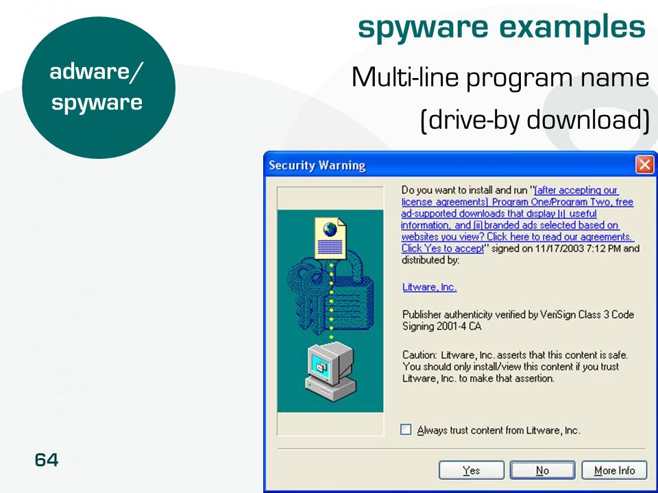 spyware examples Multi-line program name (drive-by download)