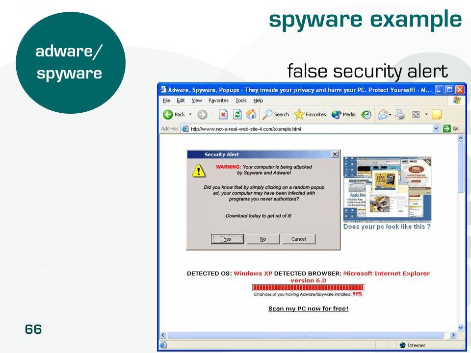 spyware example adware/ spyware false security alert