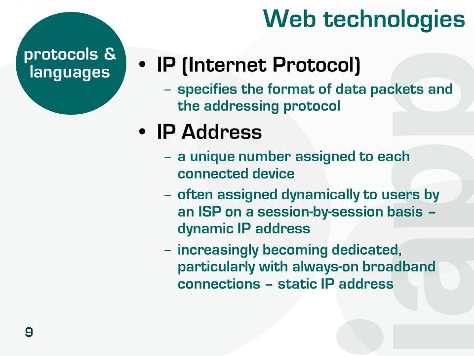 Web technologies IP (Internet Protocol) IP Address protocols &