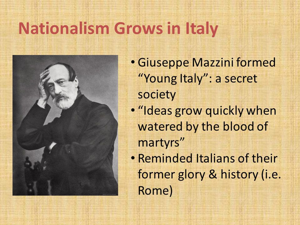 a history of nationalism in italy Describe the response of america to the rise of nationalism in japan, italy,  more about the rise of nationalism essay history of nationalism 1041 words | 4 pages.