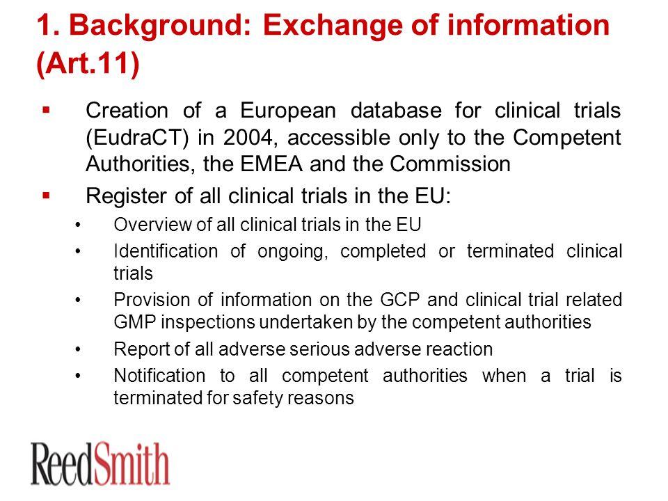 1. Background: Exchange of information (Art.11)