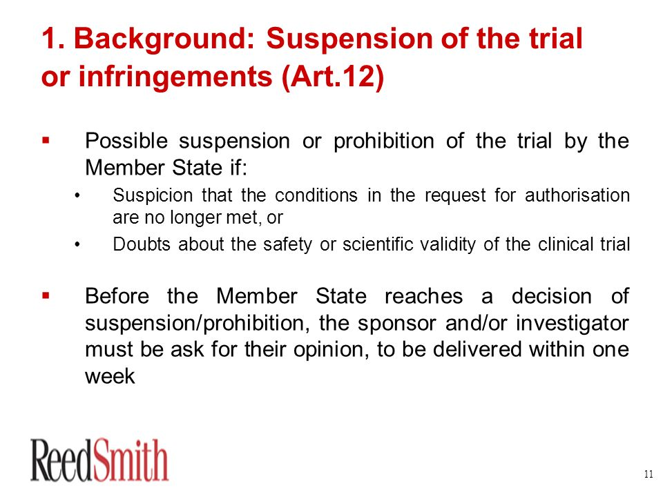 1. Background: Suspension of the trial or infringements (Art.12)
