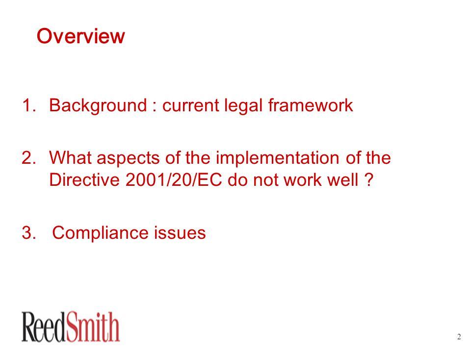 Overview Background : current legal framework