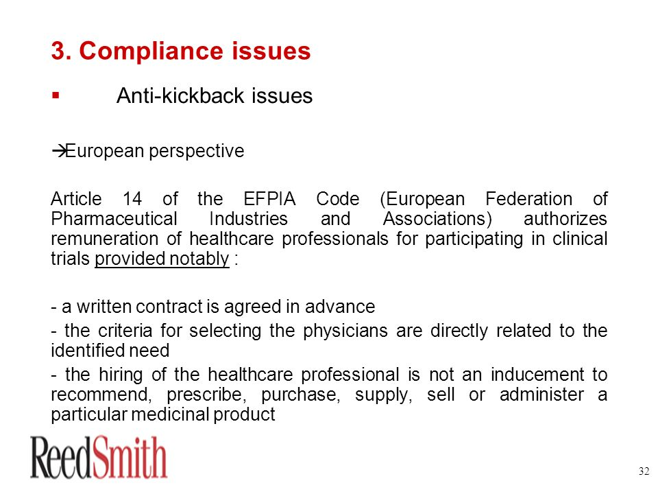 3. Compliance issues Anti-kickback issues European perspective