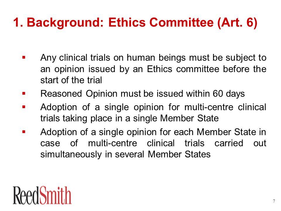 1. Background: Ethics Committee (Art. 6)