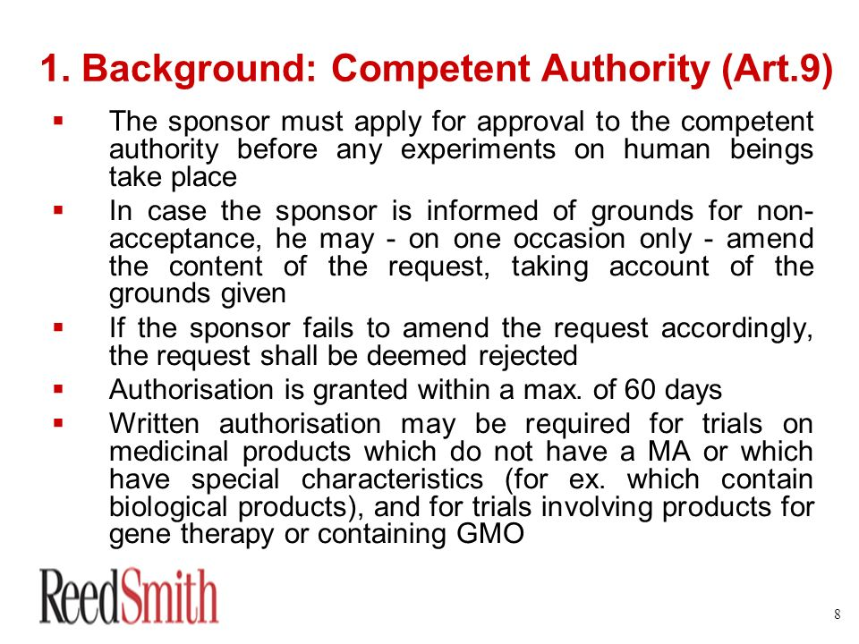 1. Background: Competent Authority (Art.9)