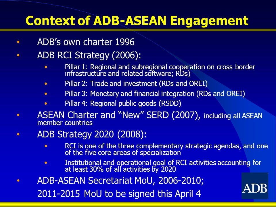 Context of ADB-ASEAN Engagement