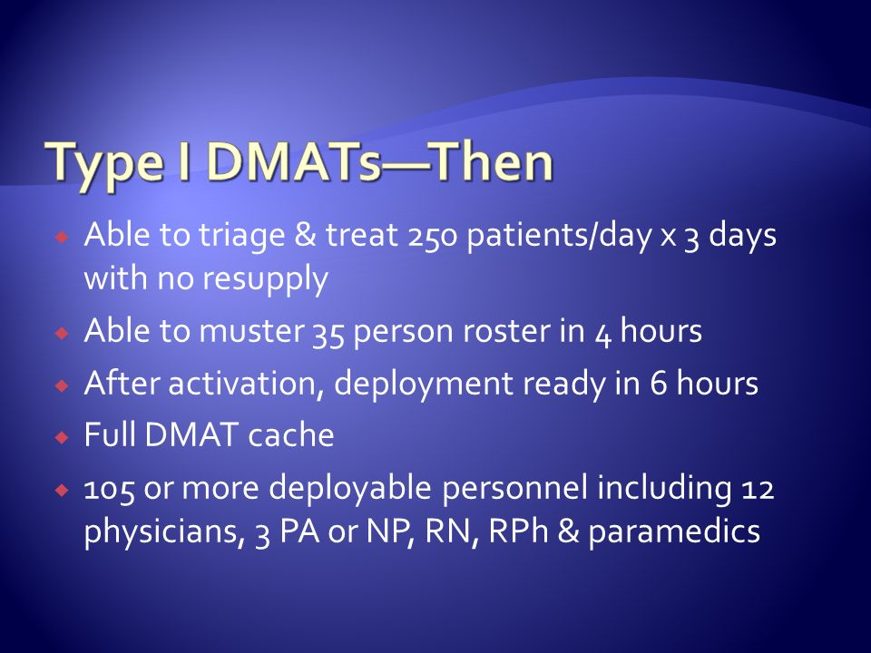 Type I DMATs—Then Able to triage & treat 250 patients/day x 3 days with no resupply. Able to muster 35 person roster in 4 hours.